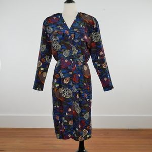 Gillian VTG Tropical Silk Button Down Midi Dress 6